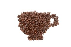 Roasted coffee beans in a shape of coffee cup Stock Image