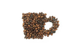 Roasted coffee beans in shape of cup Royalty Free Stock Photography