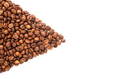 Roasted coffee beans with space for advertising text isolated Stock Image