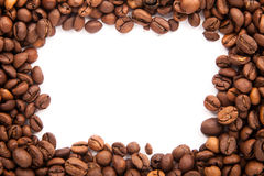 Roasted coffee beans with space for advertising text isolated Royalty Free Stock Image