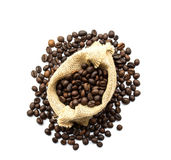 Roasted coffee beans spilled on pile. Top view Stock Photography