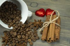 Roasted coffee beans, star anise and cinnamon stock photo