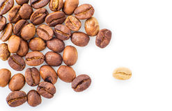 Roasted coffee beans strewn Stock Photos