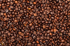 Roasted coffee beans. Top view. Stock Image