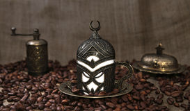 Roasted Coffee Beans and Turkish Coffee Stock Photos