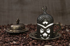 Roasted Coffee Beans and Turkish Coffee Royalty Free Stock Photo