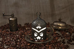 Roasted Coffee Beans and Turkish Coffee Royalty Free Stock Images