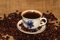 Roasted Coffee Beans and Turkish Coffee Stock Image