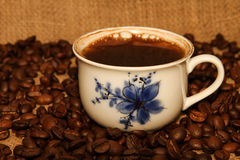 Roasted Coffee Beans and Turkish Coffee Royalty Free Stock Image
