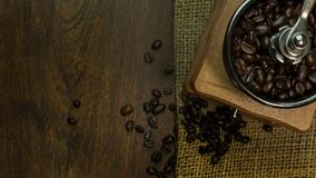 Roasted coffee beans vintage mood be used as a background. The roasted coffee beans vintage mood be used as a background Royalty Free Stock Photography
