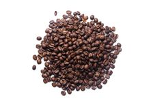 Roasted coffee beans. On white background royalty free stock image