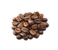 Roasted coffee beans, white background. Roasted coffee beansn white on background Royalty Free Stock Images