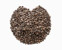 Roasted coffee beans on white background. This is clipping path Royalty Free Stock Image