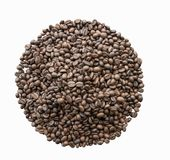 Roasted coffee beans on white background, this is clipping path. Roasted coffee beans on white background Stock Image