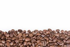 Roasted coffee beans on white background - Coffea. Coffee can help prevent some diseases and contribute to keep in shape the memory and increase the physical and royalty free stock photos