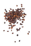 Roasted coffee beans on a white background Royalty Free Stock Photos