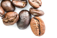 Roasted coffee beans on white Royalty Free Stock Image