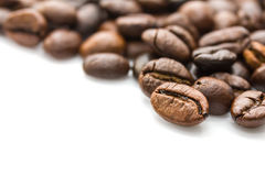 Roasted coffee beans on white Stock Image
