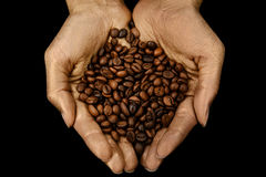Roasted coffee beans in woman golden hands Stock Photography