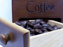 Roasted coffee beans in the wood box.  Royalty Free Stock Photos