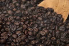 Roasted coffee beans with wooden spoon Royalty Free Stock Images