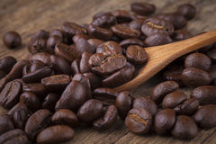 Roasted coffee beans in wooden spoon placed on coffee beans as b. Roasted coffee beans in wooden spoon placed Royalty Free Stock Photo