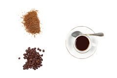 Roasted Coffee and Brown Sugar isolated on White Stock Images