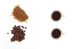 Roasted Coffee and Brown Sugar isolated on White Royalty Free Stock Photography