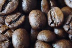 Roasted coffee close-up. A pile of roasted coffee. Macro photo of a grain coffea arabica Royalty Free Stock Photo