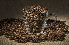 Roasted coffee glass cup Stock Photos