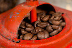 Roasted coffee grains into an ancient manual coffee grinder Royalty Free Stock Images