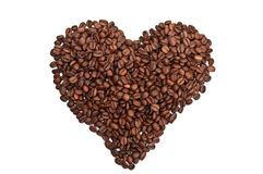 Roasted coffee heart Royalty Free Stock Photography