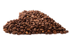 Roasted coffee laid out in the form of heart isolated Royalty Free Stock Photo