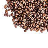 Roasted Coffee Macro Background. Arabica Coffee Beans background. Texture isolated on white background frame with copy space for text Royalty Free Stock Image