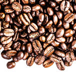 Roasted Coffee Macro Background. Arabica Coffee Beans background. Texture isolated on white background frame with copy space for text Royalty Free Stock Photos