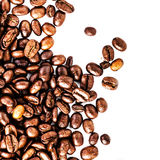 Roasted Coffee Macro Background. Arabica Coffee Beans background. Texture isolated on white background frame with copy space for text Stock Photography
