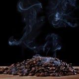 Roasted coffee with smoke Stock Photo