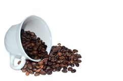 Roasted coffee spill out of white cup. Roasted coffee spill out of cup on white background Royalty Free Stock Images