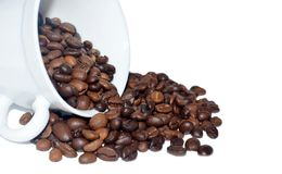 Roasted coffee spill out of white cup. Close up. Roasted coffee spill out of cup on white background. Macro Stock Photo