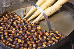Roasted colorful chestnuts in street cafe Royalty Free Stock Photography