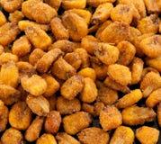 Roasted corn. Fried corn snacks closeup background royalty free stock photo