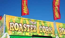 Roasted Corn on the Cob stand at the Carnival. Stock Photo