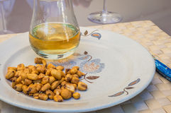 Roasted corn and glass of whiskey Royalty Free Stock Image