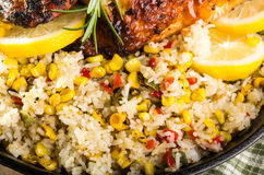 Roasted corn and rice with chicken Royalty Free Stock Photo