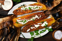 Roasted corn, top view Royalty Free Stock Photography