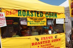 Roasted Corn. Vendor at Hatch Green Chili Festival in New Mexico close to Las Cruces in 2016. Very tasty and spicy stock image