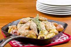 Roasted Cornish Game Hen and Potatoes Royalty Free Stock Photography