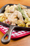 Roasted Cornish Game Hen and Potatoes royalty free stock images