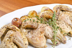 Roasted Cornish Game Hen and Potatoes stock image