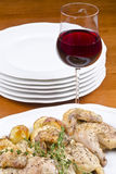 Roasted Cornish Game Hen Served with Red Wine Royalty Free Stock Photography